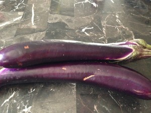 Chinese Eggplant. I like these more than the usual Italian eggplants. I love them grilled and in curries.